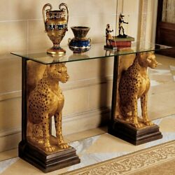 Egyptian Style Glass Top Accent Console Table Cheetah Base Sculptural Gold Entry