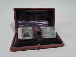 Victorian Napkin Rings- Antique Pair In Case - English Sterling Silver - 1888/90