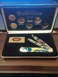 Case Xx 2008 State Quarter Gold Series Trapper 1/3000 Stainless Pocket Knife