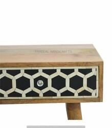 Bone Inlay Solidwood Console Hall table honeycomb pattern home decor gift