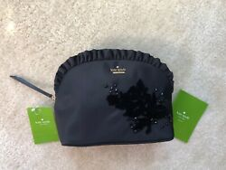 NWT Kate Spade Black Embellished Small Marcy Dawn Place Cosmetic Bag Pouch