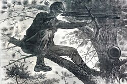 Winslow Homer 1862 Sharp Shooter On Picket Duty Civil War Army Antique Engraving