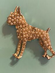 Old Vintage Jewelry Gold Pearl Irredescent Rhinestone Boston Terrier Pin Brooch
