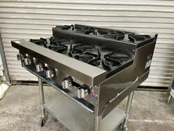 New 36 Step Up Gas Hot Plate 6 Open Burner Commercial Stratus Shp-36-su 3264