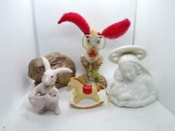 Vintage Knick Knacks Lot Occupied Japan Bunny, Mother Mary, Rocking Horse More