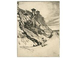 A Kansas City Bluff By Ralph M. Pearsonantique Etching Hand Signed In Pencil