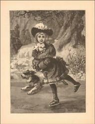 LITTLE GIRL ICE SKATING WITH HER DOG antique engraving original 1886*