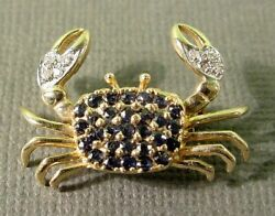 14 Kt Yellow Gold Diamond And Sapphire Crab Brooch Pin Blue Claw