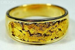 Gold Nugget Men's Ring Orocal Rm10mmt Genuine Hand Crafted Jewelry - 14k Casti