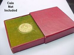 Vintage Two And A Half 2 1/2 Dollar Gold Coin Gift Box Christmas Holiday Bank
