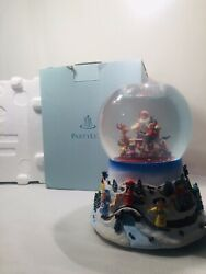 Partylite Snow Globe. P8202. Santa At The Shop. With Automatic Snow.