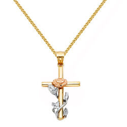 14k Tri-tone Gold Floral Cross Pendant With 1.5-mm Flat Wheat Chain