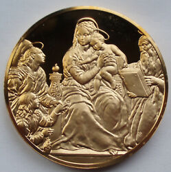 Spain Madonna With The Fish Raphael C.1514 Bu Proof Medal 51mm 80g Gold Plated.