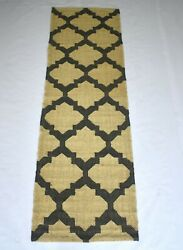 Jute Wool Geometric Indian Modern Runner 2and0395and039and039x 8and039 Feet Reversible Rug Dn-1918