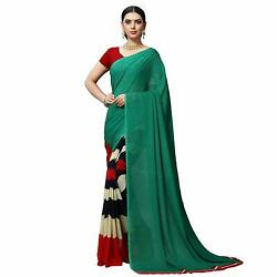 Green Printed Designer Bollywood Saree Party Wear Indian Pakistani Sari