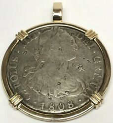 Vintage 1808 Mexico 8 Reales Silver Coin W/ Chop Marks 14k Yellow Gold Pendant
