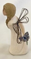 Willow Tree 5 Standing Thank You Angel Holding Blue Flowers Figurine