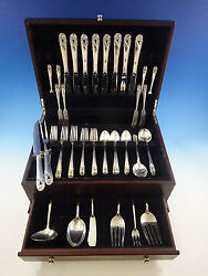 Spring Glory By International Sterling Silver Flatware Set For 8 Service 56 Pcs