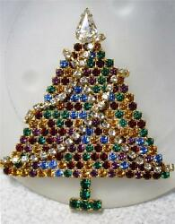 Vintage Rhinestone Christmas Tree Pin Brooch Articulated Garland Old Prong Set