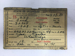 1938 Vehicle Registration Card Colorado For 1929 Ford Aa Truck Dmv Motor Vehicle