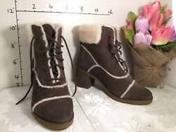 Ugg Esterly Lace Up Heeled Boots Womenand039s Size 9 Brown 1095051 New 3200