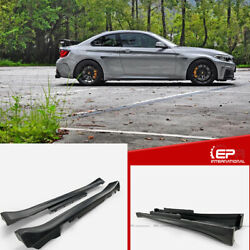 For Bmw F22 Manhart Style Wide Body Kit Frp Side Skirts Addon Extension 2pcs