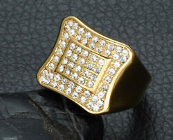 1.32ct Natural Round Diamond 14k Solid Yellow Gold Cocktail Ring Size 9