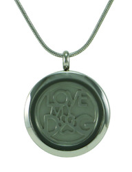 Stainless Steel Round Pewter Love My Dog Pendant Cremation Urn For Ashes