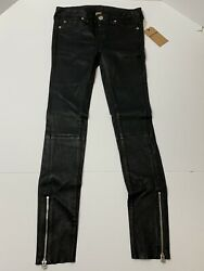 True Religion Women Mid Rise Halle Super Skinny Lamb Leather Pants Jeans New