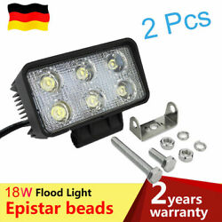2x18W Flood LED Work Light Rectangle Offroad Driving Offroad For Moto Auto