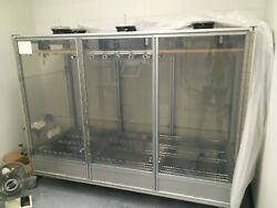 controlled temperature 6'X5'X4' chamber on wheels with transparent doors, fans.