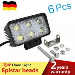 6x18W Flood LED Work Light Rectangle Offroad Driving Offroad For Moto Auto
