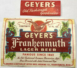 Geyer's Bros Frankenmuth Lager Beer Label Dated 1952 And Neckband Michigan Geyer