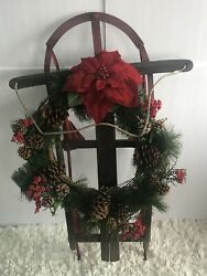 Vintage Christmas Decorations Red Sled Farm House, 6lbs Diy Front Door Rbd-009-d