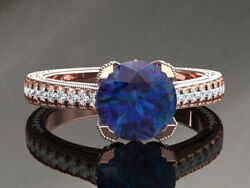 2.14ct Natural Round Diamond 14k Solid Rose Gold Sapphire Cluster Ring Size 7