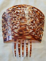 Victorian Asian Large Faux Tortoise Shell Hair Comb Ornament 9 1/4