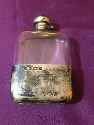 Antique Sterling Silver And Glass Medicine Whiskey Flask