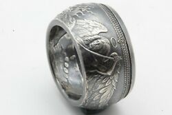Angel And Serpent Dragon Archangel Micheal Coin Ring Pure Silver Size 8-15