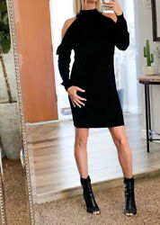 NORDSTROM Cold Shoulder Black Sweater Dress SMALL **NEW WITH TAGS** $17.00