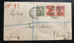 1913 Penrhyn New Zealand Registered Vintage Cover To Ulm Germany Sg14-16