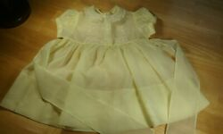 Vtg 1950's Sheer Nylon Yellow Embroidered Baby Girl Dress Tiny Tots 12-18 Mo
