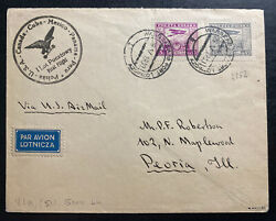 1930 Warsaw Poland First Flight Cover Ffc To Peoria Il Usa Only 53 Flown