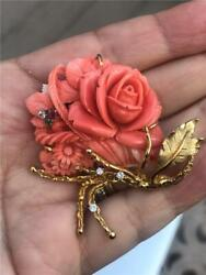 STUNNING! LARGE! 14k Gold Estate Carved Salmon CORAL Rose Diamond Brooch