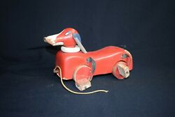 Antique Red Duck Dog Wood Pull Toy C1930 – Needs Tlc And Repairs