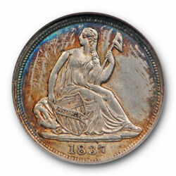 1837 H10c Seated Liberty Half Dime Anacs Au 55 About Uncirculated Small Date