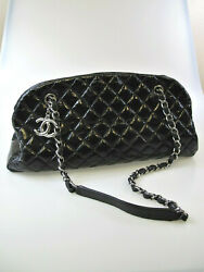 Handbag Black Patent Leather Crinkle Quilted Inner Frame And Chain Handles