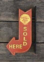 Golden Shell Motor Oil Sold Here Cast Iron Vintage-style Flange Arrow Sign