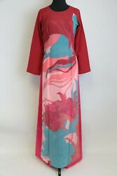 Ao Dai Vietnam Red Clay Color Floral + Wave Pattern W/ Pants 31 Bust - 34 Bust