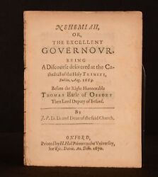 1670 Nehemiah The Excellent Governor John Parry Very Scare First Edition