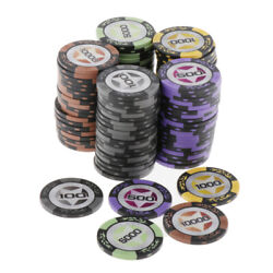100 Pieces Chips Texas Hold'em Wheat Poker Chips Set Casino Game Token